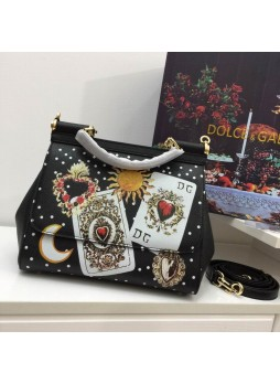 DOLCE&GABBANA HOLLOW EMBROIDERY  LETTER  PLAYING CARD  SMALL SQUARE BAG