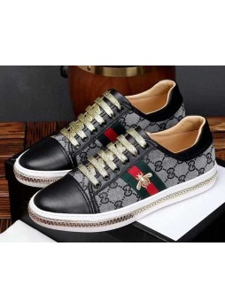 GUCCI MEN LEATHER AND GREY MINI GG FABRIC SHOES