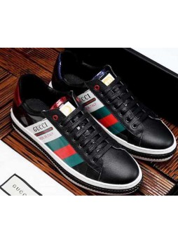 GUCCI MEN LEATHER FABRIC SNEAKERS WITH LOGO