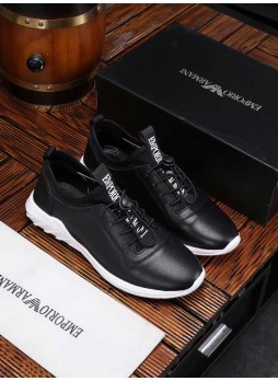EMPORIO ARMANI MEN'S SHOES LEATHER SHOES WILD SHOES SNEAKERS WITH LOGO
