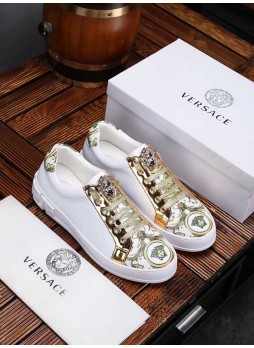 VERSACE EUROPE MEDUSA LEATHER MEN'S SPORTS SHOES SNEAKERS WITH LOGO