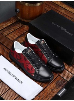 EMPORIO ARMANI 2019 MEN'S EUROPEAN STATION LEATHER CASUAL SHOES BOARD SHOES WITH LOGO