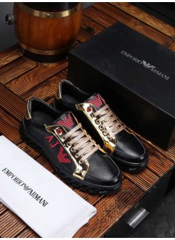 EMPORIO ARMANI EUROPEAN MEN'S SHOES LIDEN ARMANI CASUAL BRITISH STYLE LEATHER SNEAKERS WITH LOGO