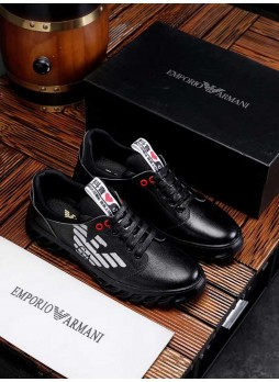 EMPORIO ARMANI EUROPEAN MEN'S SHOES CASUAL SHOES BRITISH STYLE LEATHER SHOES WITH LOGO