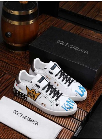 DOLCE GABBANA EUROPEAN STATION CASUAL SPORTS SHOES PRINTED FASHION SHOES