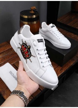 DOLCE GABBANA BRITISH STYLE LEATHER LACE-UP EMBROIDERED CASUAL MEN'S SNEAKERS