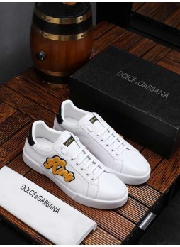 DOLCE GABBANA NEW FLEECE EMBROIDERED SNEAKERS