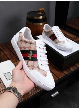 GUCCI EUROPEAN MEN'S SHOES CASUAL SPORTS WILD LITTLE BEE BOARD SHOES