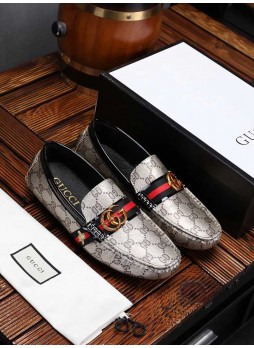 GUCCI 2019 PEAS SHOES MEN'S LEATHER PRINT ONE PEDAL LAZY DRIVING SHOES