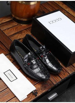GUCCI PEAS SHOES MEN'S CROCODILE PATTERN BRITISH CASUAL SHOES