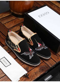 GUCCI EUROPE STATION 2019 PRINTED STITCHING EMBROIDERY SHOES