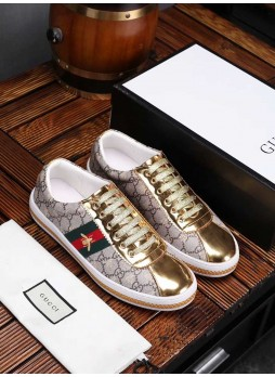 GUCCI EUROPEAN STATION EMBROIDERED LITTLE BEE MEN'S SHOES CASUAL LACE-UP GOLDEN SNEAKERS
