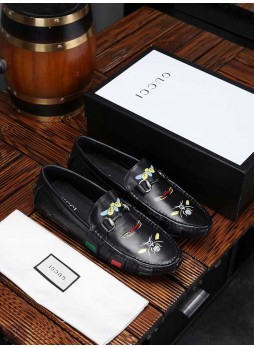 GUCCI MEN'S SHOES LITTLE BEE LAZY SHOES STYLIST EMBROIDERY SHOES