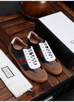 GUCCI MEN'S CASUAL EUROPEAN STATION MEN'S SHOES LEATHER BRITISH SNEAKERS