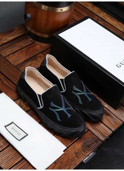 GUCCI EUROPEAN MEN'S LEATHER SHOES SNEAKERS WITH LOGO