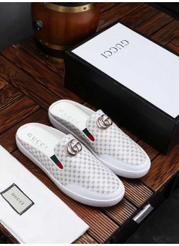 GUCCI EUROPEAN STATION HALF SLIPPERS MEN LEATHER BREATHABLE SHOES