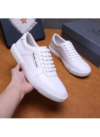 PRADA 2019 NEW MEN'S SHOES LEATHER CASUAL BREATHABLE BOARD SHOES