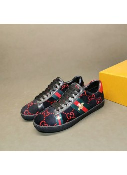 GUCCI European men's shoes trend embroidered shoes little bee shoes