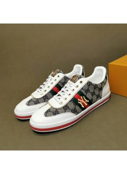 GUCCI MEN'S SHOES KOREAN EMBROIDERY LITTLE BEE SNEAKERS MEN'S SHOES