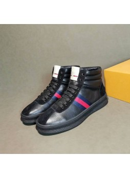 GUCCI NEW HIGH-TOP SNEAKERS GENUINE LEATHER MEN'S CASUAL SHOES
