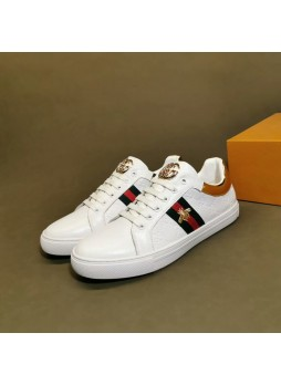 GUCCI EUROPEAN MEN'S SHOES 2019 EMBROIDERED LITTLE BEE BOARD SHOES CASUAL SHOES