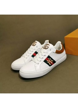 GUCCI LEATHER SNEAKERS LOW-TOP LACE-UP FASHION CASUAL WILD