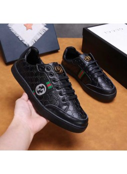 GUCCI  EUROPEAN STATION SPORTS WILD CASUAL MEN'S LEATHER BOARD SHOES