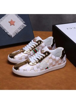 GUCCI  EUROPEAN STATION EMBROIDERED SHOES BRITISH SHOES MEN'S CASUAL LEATHER SHOES