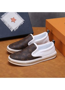 LOUIS VUITTON MEN'S CASUAL LEATHER LOAFERS SNEAKERS WITH LOGO