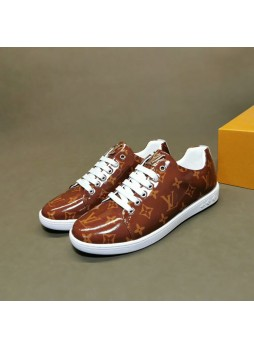 LOUIS VUITTON EUROPEAN CLASSIC PRINTED LOGO STITCHING LACE-UP SNEAKERS