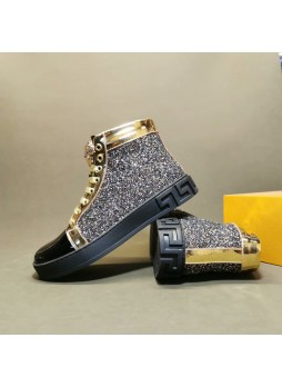 VERSACE EUROPEAN STATION MEDUSA HIGH-TOP LEATHER CASUAL BEAUTY HEAD SNEAKERS