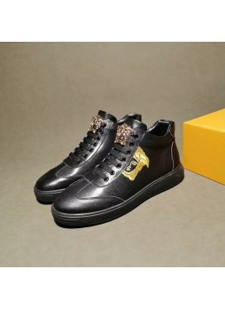 VERSACE EUROPE HIGH-TOP CASUAL SPORTS RUNNING SHOES MEDUSA EMBROIDERED SNEAKERS