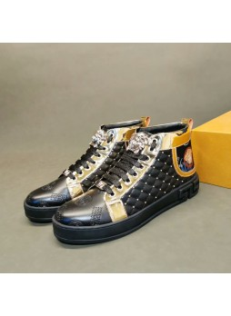 VERSACE EUROPEAN AND AMERICAN FASHION RIVET HIGH-TOP SNEAKERS EMBROIDERED MEN'S SHOES COLOR MATCHING CASUAL SHOES