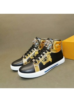 VERSACE EUROPE 2019 LEATHER HIGH-TOP SHOES MEDUSA MEN'S SHOES CASUAL SNEAKERS