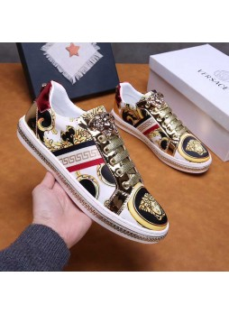 VERSACE Europe men's shoes 2019 medusa embroidered casual metal plate shoes
