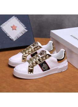 VERSACE HOT SALE SPRING EMBOSSED LOW-TOP SHOES FASHION STITCHING CASUAL SHOES