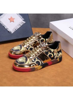 VERSACE EUROPE'S TRENDY COOL MEDUSA MEN'S PRINTED SHOES CASUAL SHOES