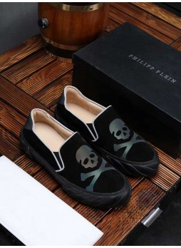 PHILIPP PLEIN SKULL LOAFERS SNEAKERS WITH LOGO