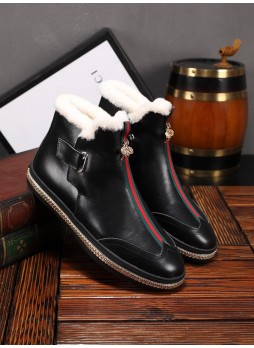 GUCCI NEW BRITISH STYLE FRONT ZIPPER WILD ANKLE BOOTS AND FLEECE SHOES