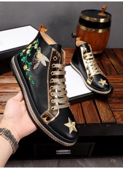 GUCCI EUROPEAN STATION FLOWER BEE EMBROIDERY TRENDY MEN'S CASUAL SHOES FASHION MEN'S SHOES