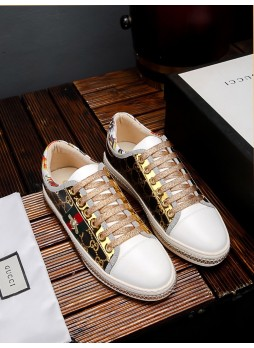 GUCCI EUROPEAN CASUAL PERSONALITY MEN'S SMALL BEE MEN'S SNEAKERS