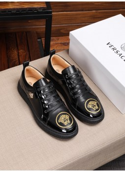 VERSACE 2019 MEDUSA CASUAL SHOES BEAUTY HEAD EMBROIDERED MEN'S SNEAKERS