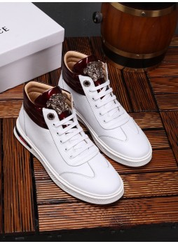 VERSACE EUROPE'S MEDUSA HIGH-TOP SNEAKERS MEN'S LEATHER BOOTS CASUAL SHOES