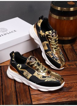 VERSACE NEW BEAUTY HEAD SPORTS AND LEISURE WILD BOARD SHOES MEN'S PRINTED EMBROIDERED MEDUSA SHOES