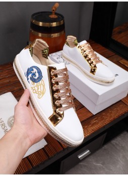 VERSACE EUROPEAN MEN'S SHOES MEDUSA EMBROIDERED BREATHABLE CASUAL SNEAKERS