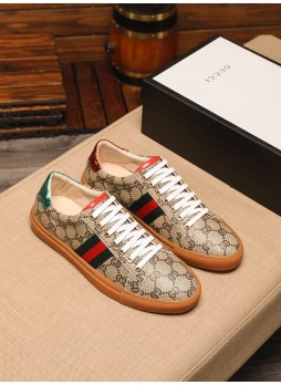 GUCCI EUROPEAN MEN'S SHOES CASUAL WILD LOW-TOP LACE-UP ROUND TOE SNEAKERS
