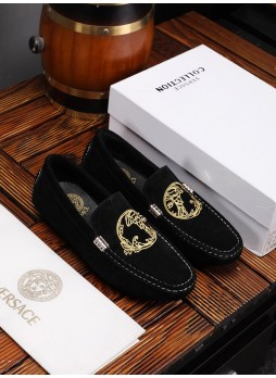 VERSACE 2019 MEN'S CASUAL WILD MEDUSA LEATHER EMBROIDERED SOFT BOTTOM TIDE SHOES