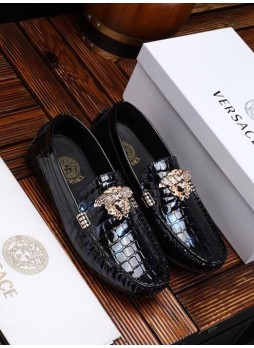 VERSACE EUROPEAN STATION PATENT LEATHER COVER FOOT BREATHABLE ONE PEDAL LEISURE DRIVING SHOES