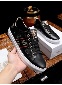 VERSACE MEDUSA MEN'S SHOES EUROPE 2019 BEAUTY HEAD LEATHER CASUAL SNEAKERS