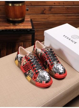 VERSACE 2020 PRINTED EMBROIDERED MEDUSA LOW-TOP SNEAKERS CASUAL SHOES